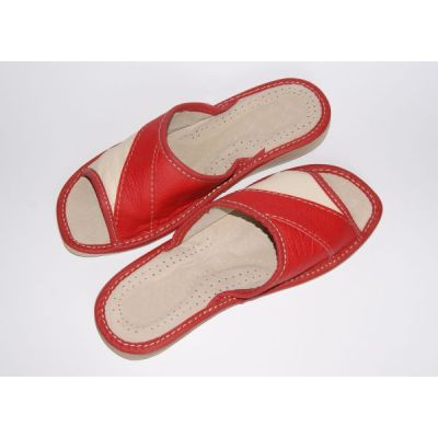 Women's Red and White Comfort Leather Slippers