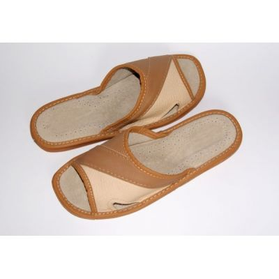 Women's Brown and Beige Leather Slippers