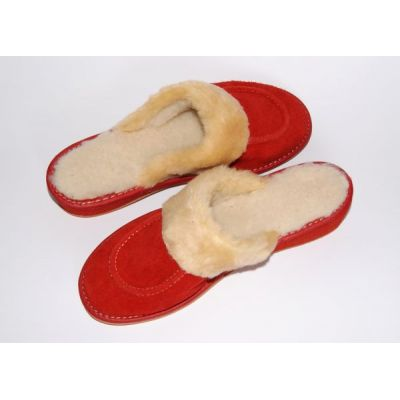 Women's Red Suede Slippers With Sheep's Wool
