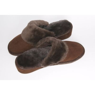 Dark Brown Suede Women's Slippers With Sheep's Wool