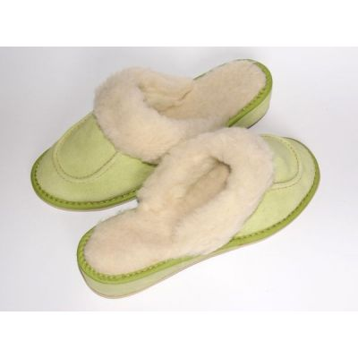 Green Suede Women's Slippers With Sheep's Wool
