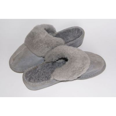 Grey Suede Women's Slippers With Sheep's Wool