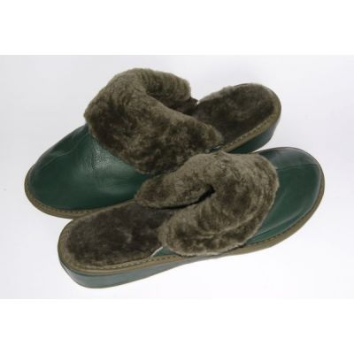 Women's Green Leather Slippers With Sheep's Wool