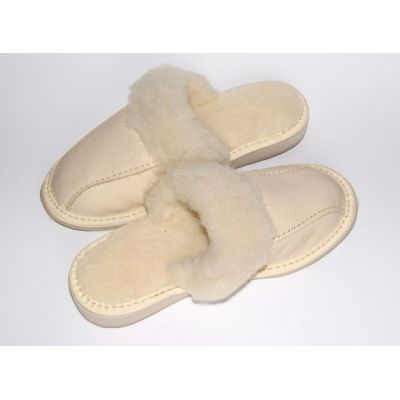 White Leather Women's Slippers With Sheep's Wool