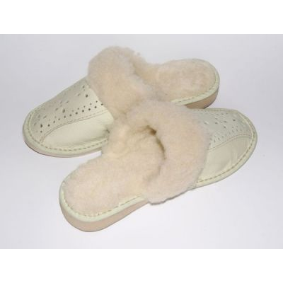 Women's White Leather Slippers With Sheep's Wool