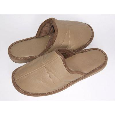 Women's Brown Leather Sheepskin Slippers