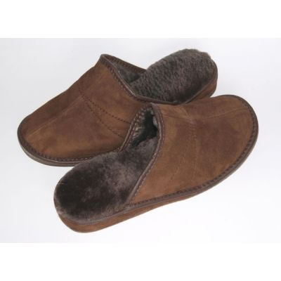 Brown Suede Women's Slippers With Sheep's Wool
