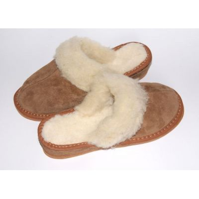 Brown Suede Slippers With Sheep's Wool Women's