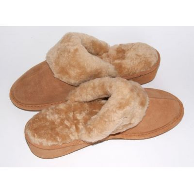 Women's Brown Suede Furry Slippers With Sheep's Wool