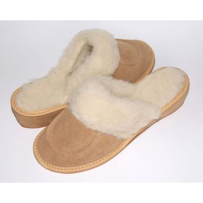 Beige Suede Women's Slippers With Sheep's Wool