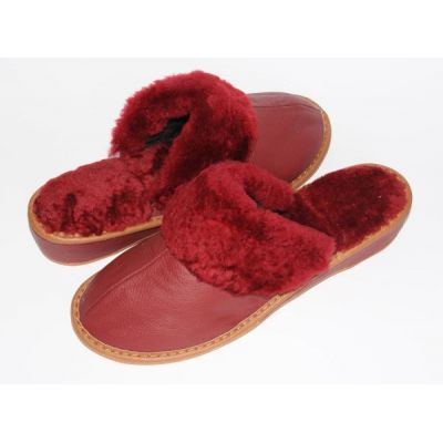 Women's Red Leather Slippers With Sheep's Wool