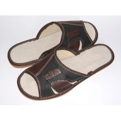 Men's Two-Tone Hand-Made leather slippers