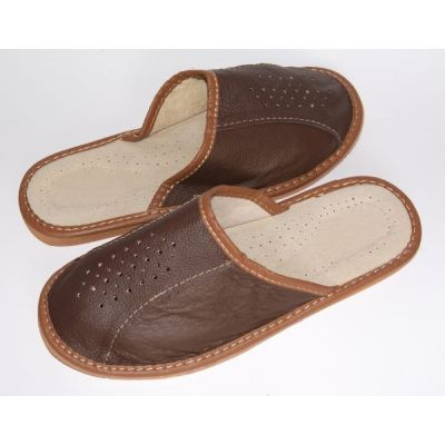 Men's close-toed custom Leather Slippers
