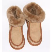 Light Brown Suede Women's Slippers With Sheep's Wool