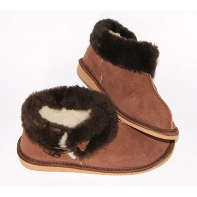 Brown Suede Women's Warm Slippers With Sheep's Wool