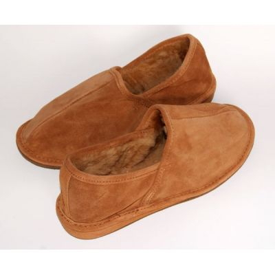 Brown Suede Men's Slippers With Sheep's Wool