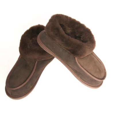 Men's Brown Suede Sheep's Wool Slippers