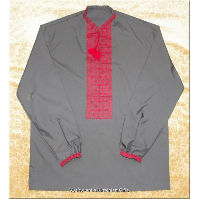Ukrainian Black Hand Embroidered Men's Shirt - M