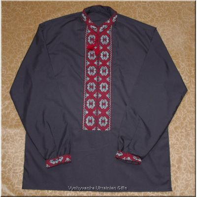 Hand Embroidered Ukrainian Men's Black Shirt XXL