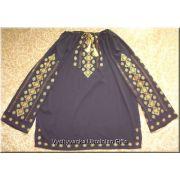 Ukrainian Embroidered Women's Chiffon Black Blouse - M