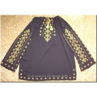 Ukrainian Embroidered Women's Chiffon Black Blouse - M