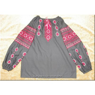Ukrainian Embroidered Womens Black Blouse - S/M