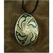 Pendant Handpainted Pysanka Style Ostrich Shell