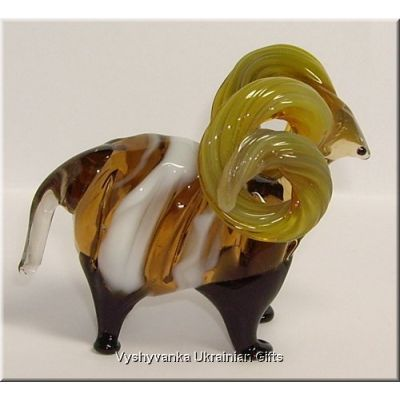 Colourful Ram - Glass Animal Figurine
