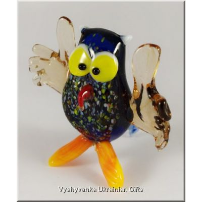 Colourful Owl - Glass Animal Figurine