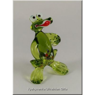 Funny Frog - Ukrainian Glass Animal Figurine
