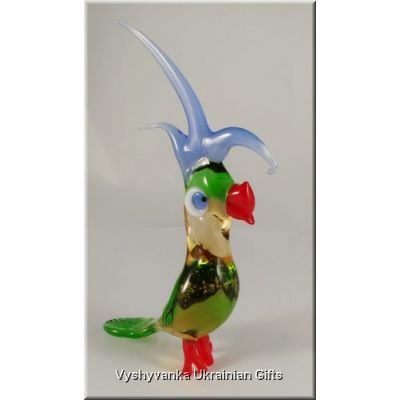 Funny Parrot - Tiny Glass Animal Figurine