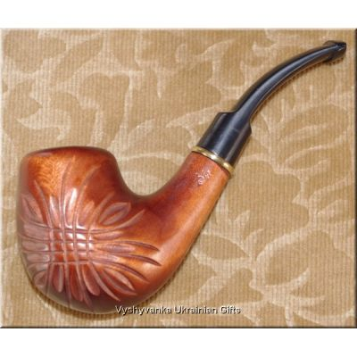 Hand Carved Tobacco Smoking Pipe - Festive