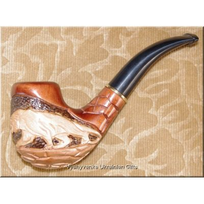 Ukrainian Wooden Tobacco Smoking Pipe - Panther