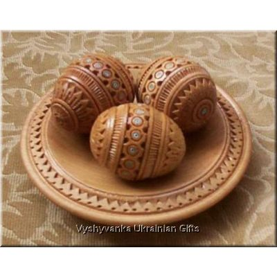 3 Wooden Handcarved Ukrainian Pysanky Eggs