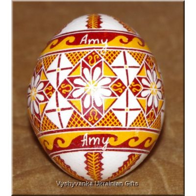 Real Ukrainian Pysanka Egg with name Amy