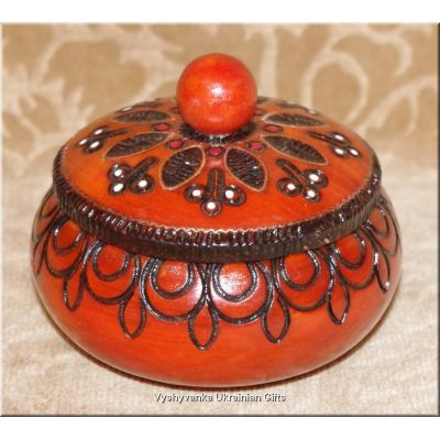 Polish Wooden Hand Carved Inlaid Bowl Box