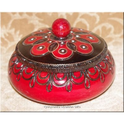 Wooden Hand Carved Inlaid Bowl Box from Poland