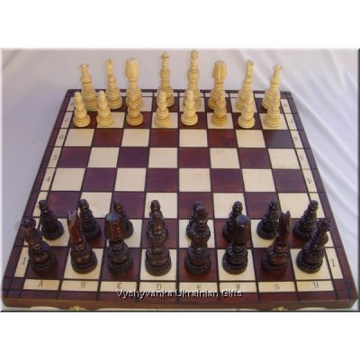 Polish Hand Carved Wooden Chess Set - Mars