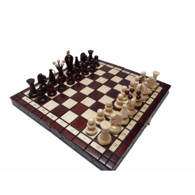 Polish Hand Carved Wooden Chess Set King's Small