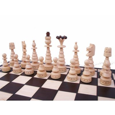 Hand Carved Wooden Chess Set - Christmas Tree