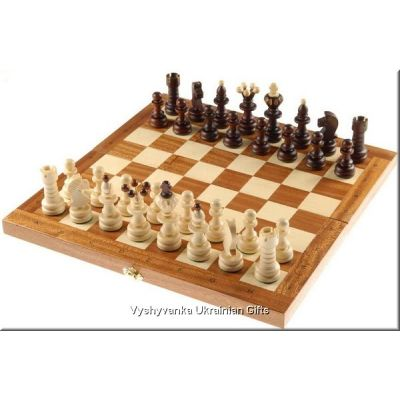 Hand Carved Wooden Chess Set - Pearl Large