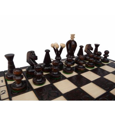 Carved Wooden Chess Set - King Small Burned