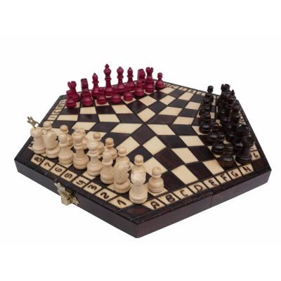 Wooden Small Chess Set for Three Players with Board