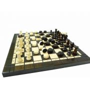 Hand Carved Small Wooden Chess and Checkers Set
