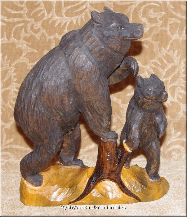 Bears ukrainian hand carved wooden animal sculpture