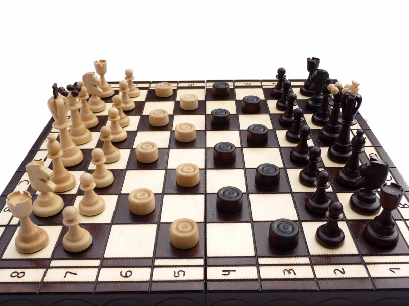 Hand Carved Small Wooden Chess And Checkers Set Ch165a
